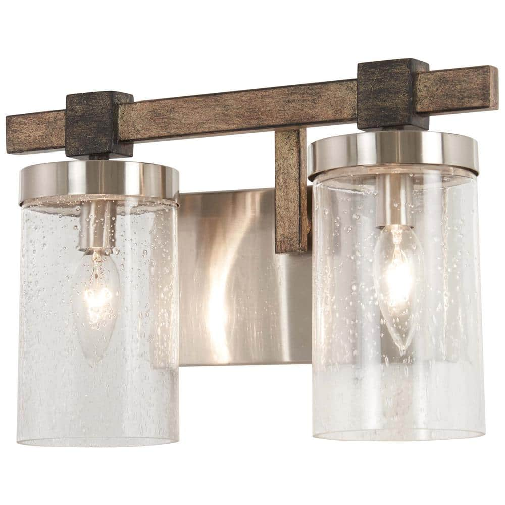 Minka Lavery Bridlewood 2 Light Stone Grey With Brushed Nickel Bath Light With Clear Seedy Glass 4632 106 The Home Depot