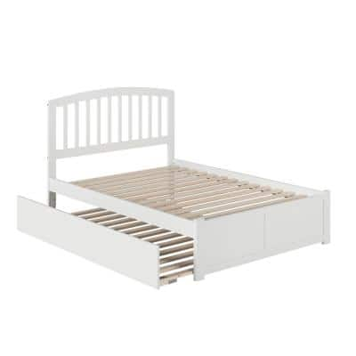 Richmond White Full Platform Bed with Flat Panel Foot Board and Full Urban Trundle Bed