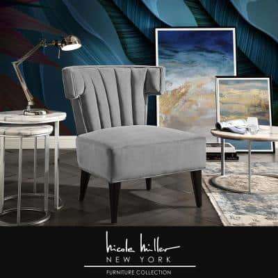 Azariah Grey Velvet Accent Chair with Upholstered Armless