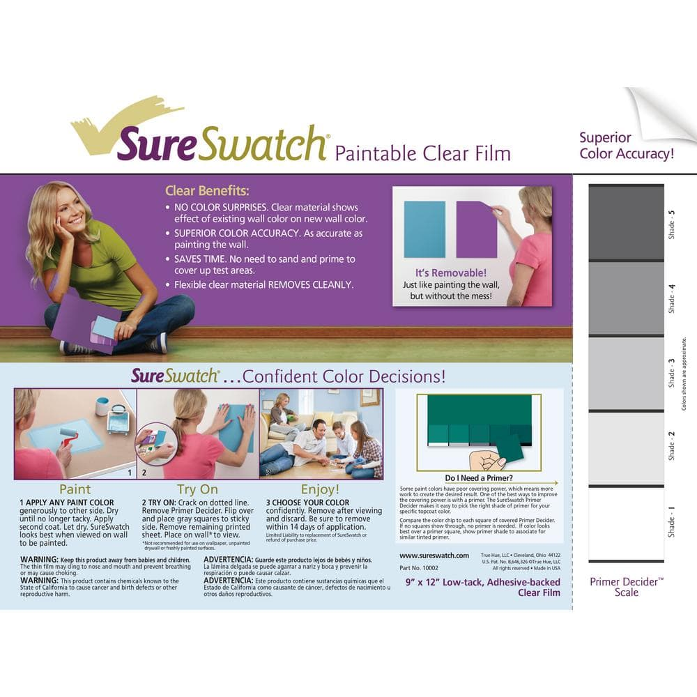 SureSwatch 9 in. x 12 in. Paintable Clear Film (50-Pack)