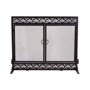 Small Cast Iron and Steel Scrollwork 1-Panel Fire Screen with Doors