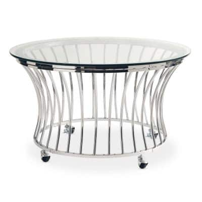 Astoria 2-Piece 36 in. Chrome Medium Round Glass Coffee Table Set with Casters
