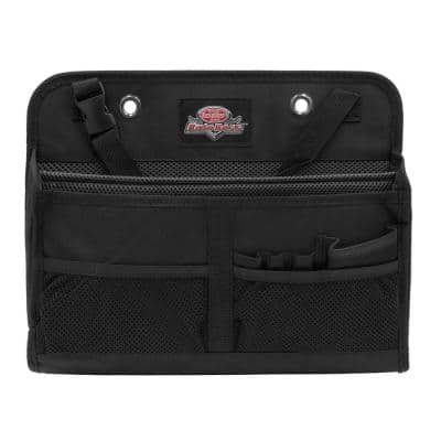 Auto Boss Interior Car Laptop and File Organizer with 7-Pockets and Adjustable Headrest Hanging Strap in Black