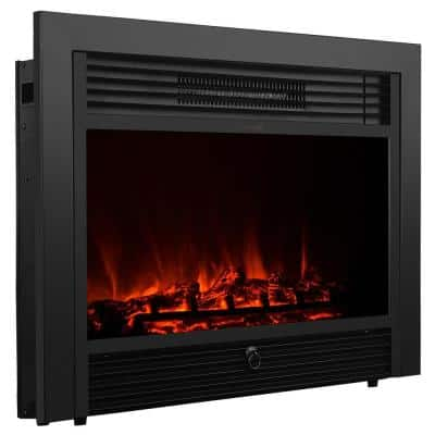 28.5 in. W 5,200 BTU Embedded Electric Fireplace Insert Heater with Remote Control in Black