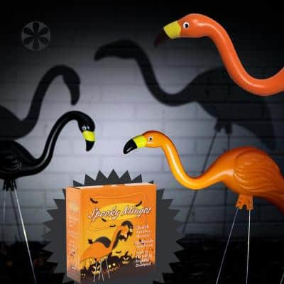 Spooky Flamingo Plastic Halloween Yard Decor Orange and Black (2-Pack)
