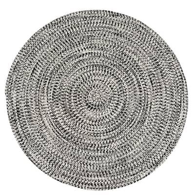 Kaari Electric Black 12 ft. x 12 ft. Tweed Indoor/Outdoor Round Area Rug