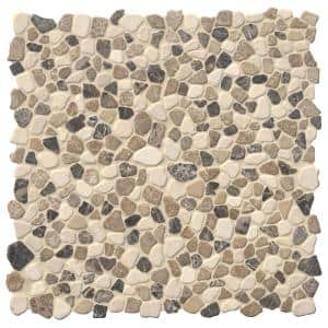 Mix Marble Pebbles 11.42 in. x 11.42 in. x 10mm Textured Marble Mesh-Mounted Mosaic Tile (9.1 sq. ft. / case)
