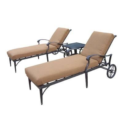Belmont 3-Piece Patio Chaise Lounge Set with Sunbrella Cushions
