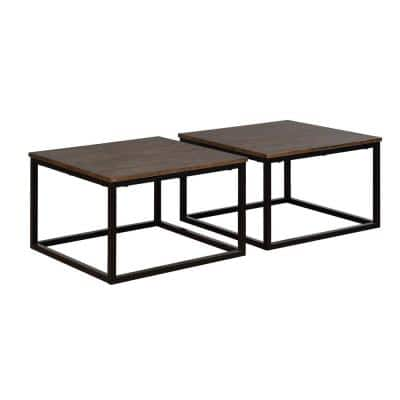 Alaterre Furniture Arcadia 2 Piece 28 In Antiqued Mocha Black Medium Square Wood Coffee Table Set With Nesting Tables Anar1175b The Home Depot