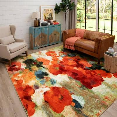 Colorful Garden Multi 10 ft. x 10 ft. Floral Square Area Rug