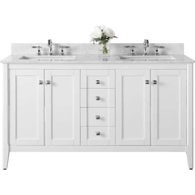 Shelton 60 in. W x 22 in. D Vanity in White with Marble Vanity Top in Carrara White with White Basins