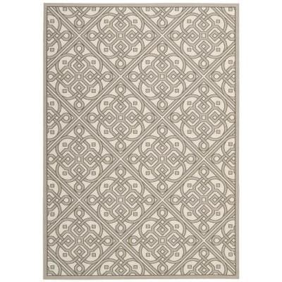 Lace It Up Stone 8 ft. x 11 ft. Geometric Modern Indoor/Outdoor Area Rug