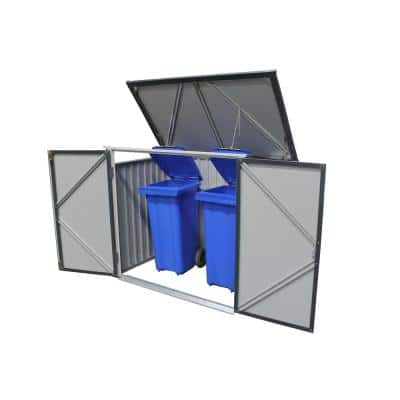 5 ft. x 3 ft. Metal Trash Bin Storage Anthracite with White