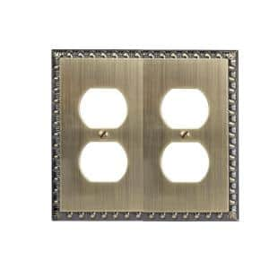 Antiquity 2 Gang Duplex Metal Wall Plate - Brushed Brass