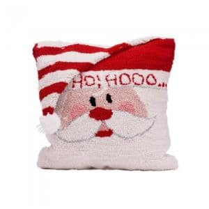 14 in. Hooked Pillow, Santa