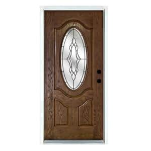 36 in. x 80 in. Andaman Medium Oak Left-Hand Inswing 3/4 Oval Lite Decorative Fiberglass Prehung Front Door