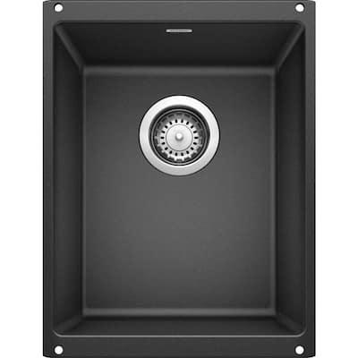 PRECIS SILGRANIT Black Granite Composite 14 in. Undermount Bar Sink