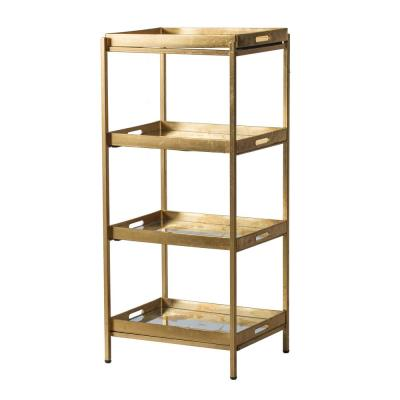 47.2 in. Matte Brass Metal 4-Shelf Modern Accent Bookcase