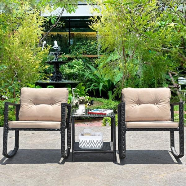 SONGMICS 3-Piece Patio Set Outdoor Patio Furniture Sets 2 Chairs and 1 Table,/Black and Beige UGGF010M01 Outdoor Seating for Bistro Front Porch Balcony PE Rattan Easy to Assemble