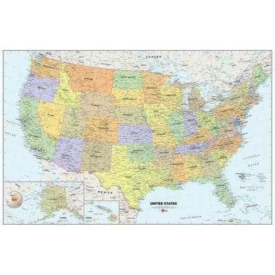 24 in. x 36 in. Dry Erase USA Map Wall Decal