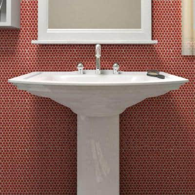 Galaxy Penny Round Red 11-1/4 in. x 11-3/4 in. x 9 mm Porcelain Mosaic Tile