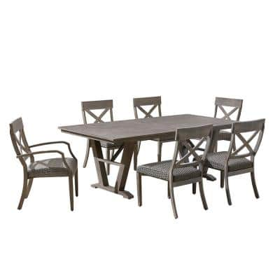 Farmingham 7-Piece Aluminum Rectagular Outdoor Dining Set with Padded Seat Cushions and Umbrella Hole
