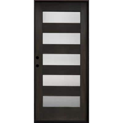 36 in. x 80 in. Ash Right Hand Inswing 5 Lite Mistlite Decorative Glass Stained Mahogany Wood Prehung Front Door