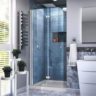 Aqua Fold 36 in. D x 36 in. W x 74 3/4 in. H Frameless Bi-Fold Shower Door in Chrome with 36 in. x36 in. Base in Biscuit