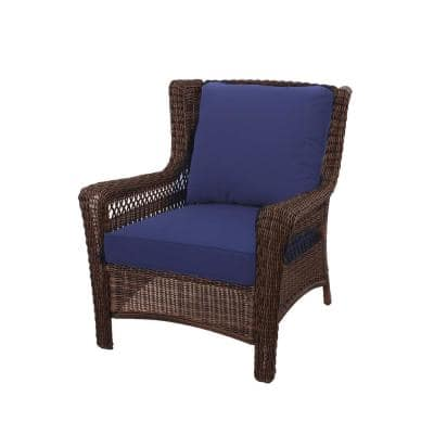 Spring Haven 23.5 in. x 26.5 in. 2-Piece Outdoor Lounge Chair Cushion in Midnight Blue