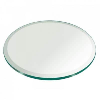 36 in. Clear Round Glass Table Top, 3/8 in. Thickness Tempered Beveled Edge Polished