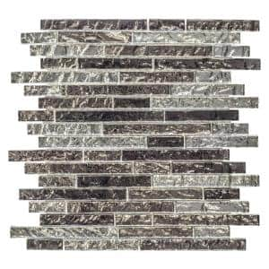 Celestial Grey 11.375 in. x 11.875 in. Interlocking Glossy Glass Pencil Mosaic Tile (0.938 sq. ft./Each)