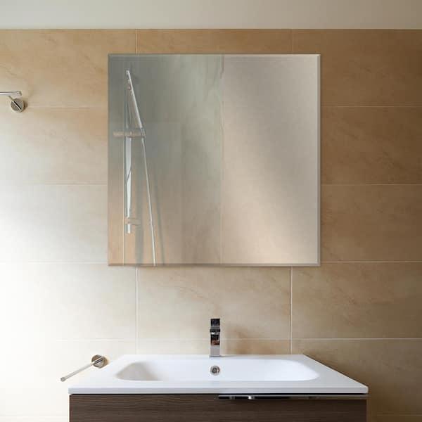 Glacier Bay 36 In W X 36 In H Frameless Square Beveled Edge Bathroom Vanity Mirror In Silver 81182 The Home Depot