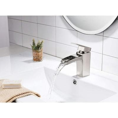 6.8 in. Single Hole Single-Handle Lever Vessel Bathroom Faucet in Brushed Nickel