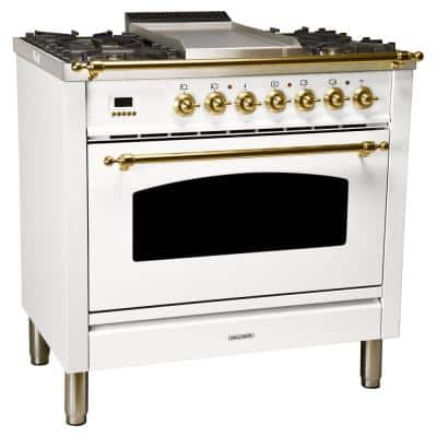 36 in. 3.55 cu. ft. Single Oven Dual Fuel Italian Range with True Convection, 5 Burners, Griddle, Brass Trim in White