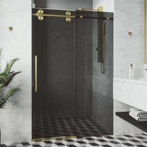 Elan 56 to 60 in. W x 74 in. H Sliding Frameless Shower Door in Matte Gold with Black Tinted Glass