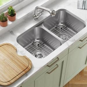 Stainless Steel 32-1/4 in. Double Bowl Undermount Kitchen Sink with Gray SinkLink and additional accessories
