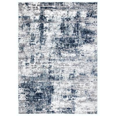 Distressed Modern Abstract Blue 5 ft. x 7 ft. Area Rug