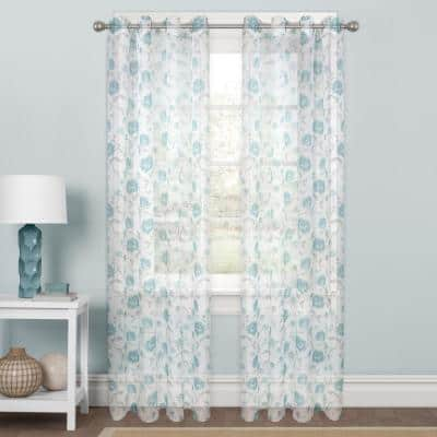 Aqua Floral Polyester 56 in. W x 84 in. L Rod Pocket Sheer Curtain Panel