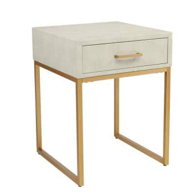 Modern Artificial Leather 1-Drawer Beige Nightstand (24 in. H x 18.1 in. W x 18.1 in. D)