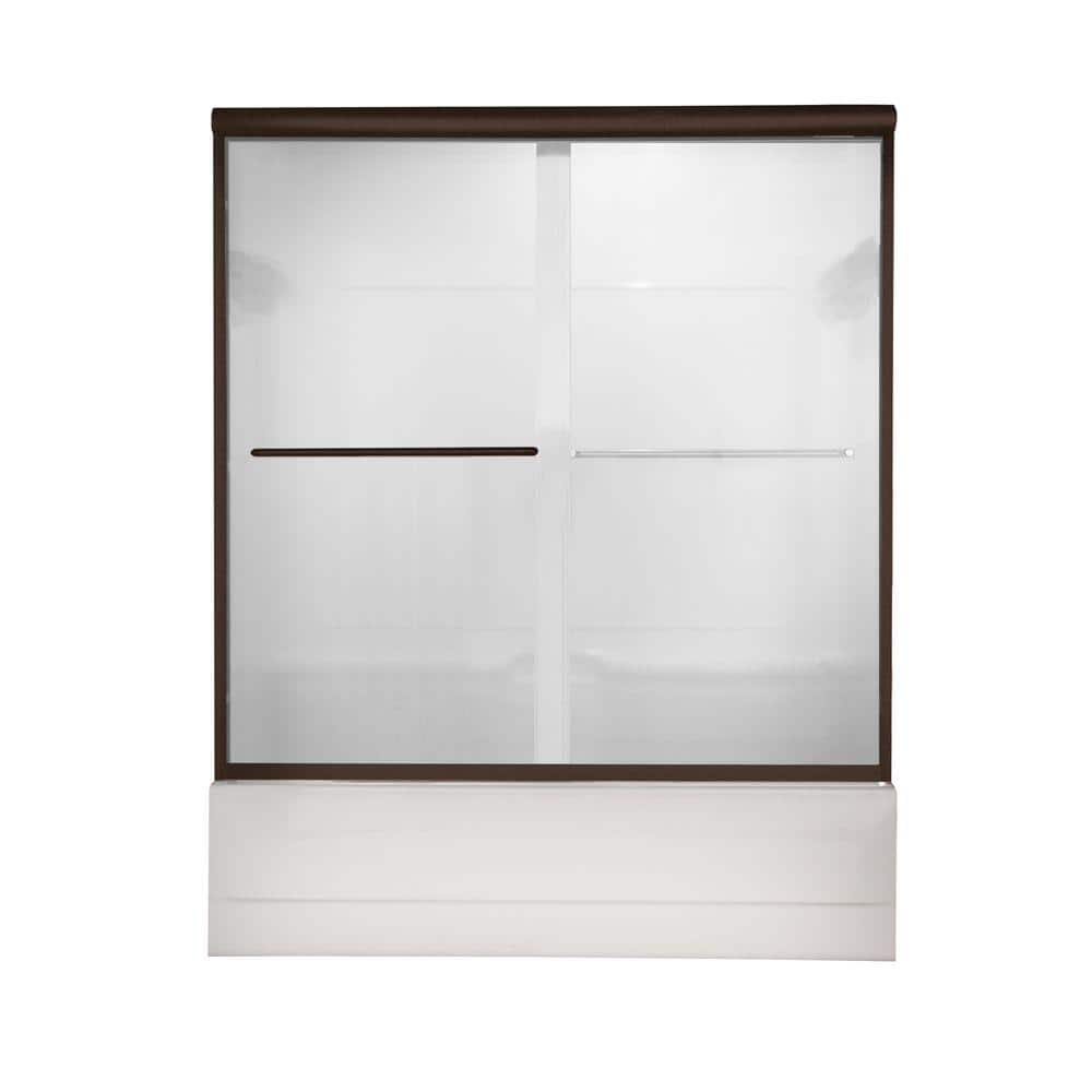 American Standard Euro 58 5 In X 57 In Semi Frameless Sliding Tub Door In Oil Rubbed Bronze With Clear Glass Am00350 400 224 The Home Depot