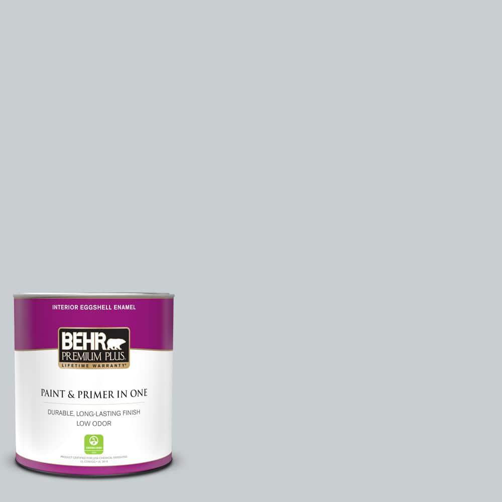 Behr Premium Plus 1 Qt 760e 2 Manhattan Mist Eggshell Enamel Low Odor Interior Paint And Primer In One 205004 The Home Depot