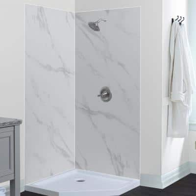 Jetcoat 42 in. x 42 in. x 78 in. Shower Kit in Carrara White with 42 in. x 42 in. Neo Angle Base in White (5-Piece)