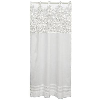 Crochet Envy White Cotton Light Filtering Curtain Panel - 45 in. W x 84 in. L