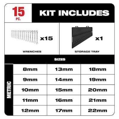 144-Position Flex-Head Ratcheting Combination Wrench Set Metric (15-Piece)
