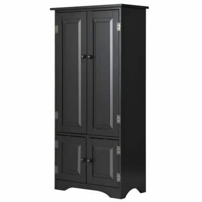Accent Black Storage Cabinet Adjustable Shelves Antique 2-Door Floor Cabinet