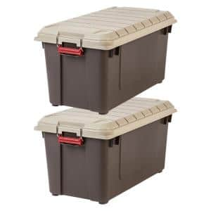 82 Qt WeatherTight Storage Box, Store-It-All Utility Tote in Brown (2 Pack)