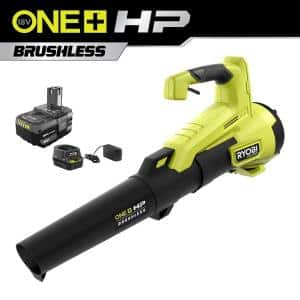 ONE+ HP 18V Brushless 110 MPH 350 CFM Cordless Variable-Speed Jet Fan Leaf Blower w/ 4.0 Ah Battery and Charger