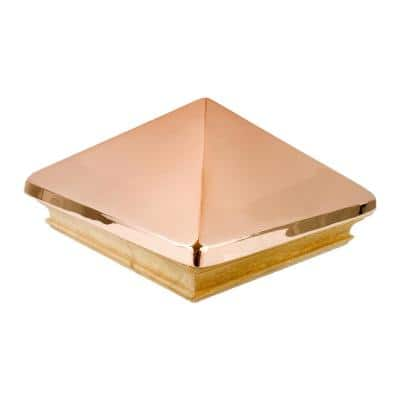 Miterless 6 in. x 6 in. Untreated Wood Flat Slip Over Fence Post Cap with Copper Pyramid
