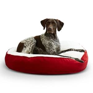 Scout Deluxe Round Medium Crimson Sherpa Dog Bed
