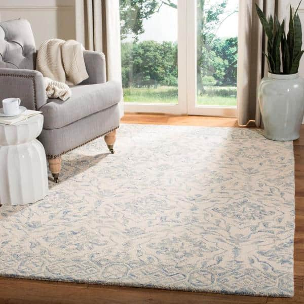 Safavieh Dip Dye Light Blue Ivory 3 Ft X 5 Ft Area Rug Ddy901l 3 The Home Depot